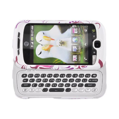 HTC Mytouch 3g Hard Case w/ Belt Clip - Hot Pink Pomegranate on White