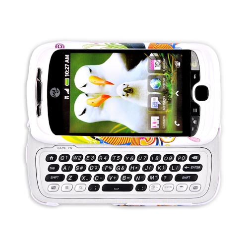 HTC Mytouch 3G Hard Case w/ Belt Clip - Rainbow Floral Star Blast on White