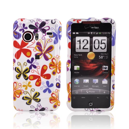 HTC Droid Incredible Hard Case - Colorful Butterflies on White