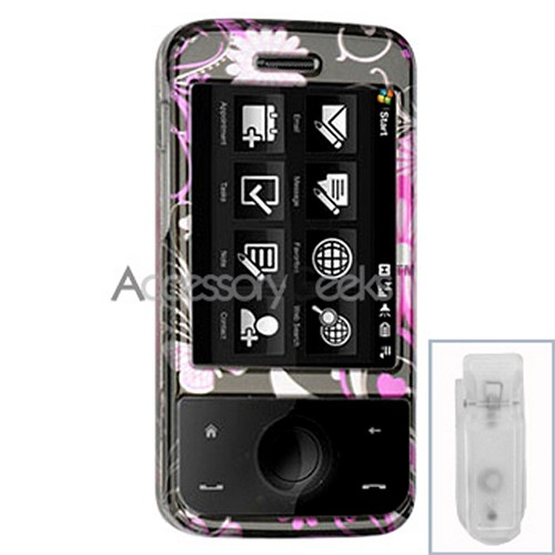 HTC Touch Pro Hard Case - Floral in Black