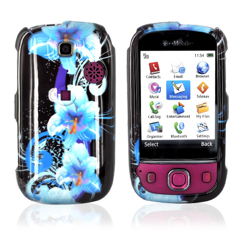 T-Mobile Tap Hard Case - Blue Flowers on Black