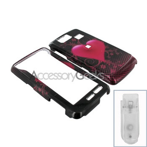 LG Versa VX9600 Hard Case - Pink Heart on Black