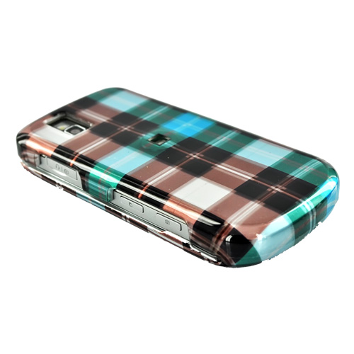LG Shine II GD710 Hard Case - Plaid Pattern of Blue, Brown, Green