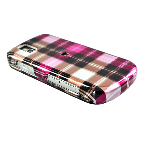 LG Shine II GD710 Hard Case - Plaid Pattern of Hot Pink, Brown, Pink
