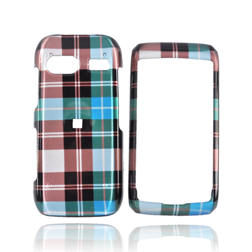 LG VU Plus GR700 Hard Case - Plaid Pattern of Blue, Brown, Gray