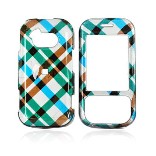 LG Neon GT365 Hard Case - Checkered Diamonds of Blue, Brown, and Silver