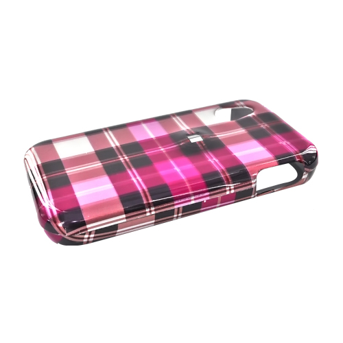 LG Arena GT950 Hard Case - Plaid Pattern of Hot Pink, Brown, Pink