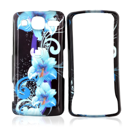 LG Expo GW820 Hard Case - Blue Flowers on Black