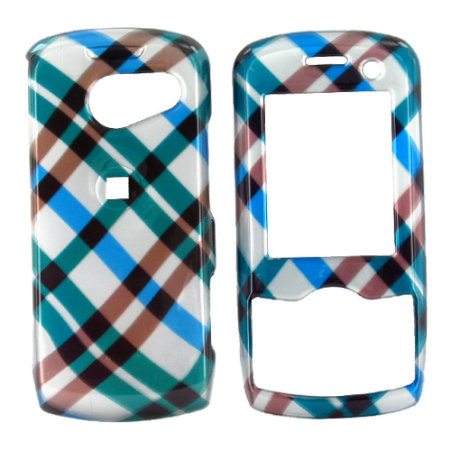 LG LX-370 / UX-370 Hard Case - Checkered Diamonds of Blue, Green, Brown, Silver