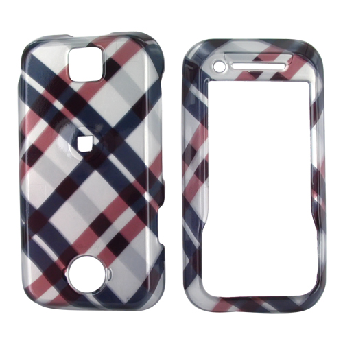 Motorola Rival A455 Hard Case - Checkered Plaid Pattern of Navy Blue, Brown, Silver