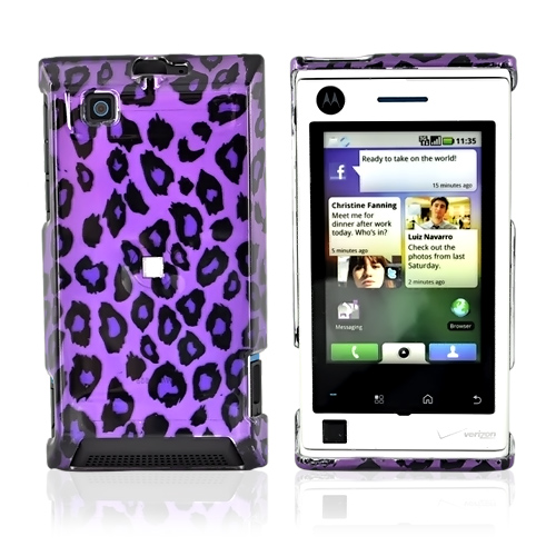 Motorola Devour A555 Hard Back Cover Case - Purple Leopard
