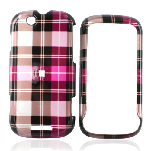 Motorola CLIQ Hard Case - Plaid Pattern of Hot Pink, Brown, Pink