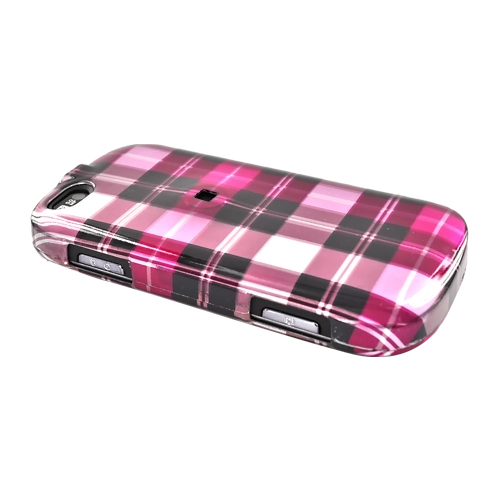 Motorola CLIQ XT Hard Case - Plaid Pattern of Hot Pink, Brown, Pink