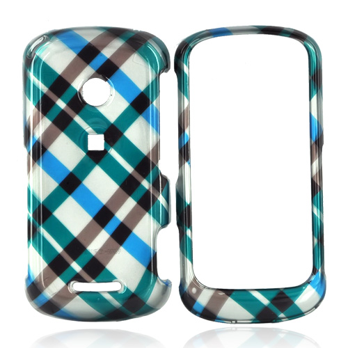 Motorola Crush W835 Hard Case - Checkered Plaid of Blue, Brown, and Silver