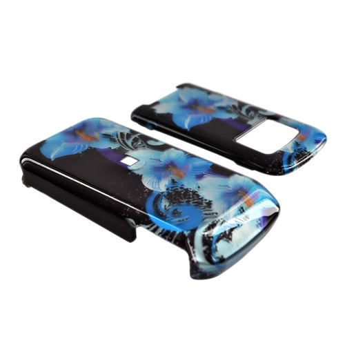 Motorola i410 Hard Case - Blue Flowers on Black