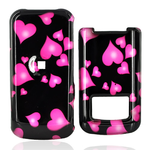 Motorola i410 Hard Case - Floating Hearts on Black