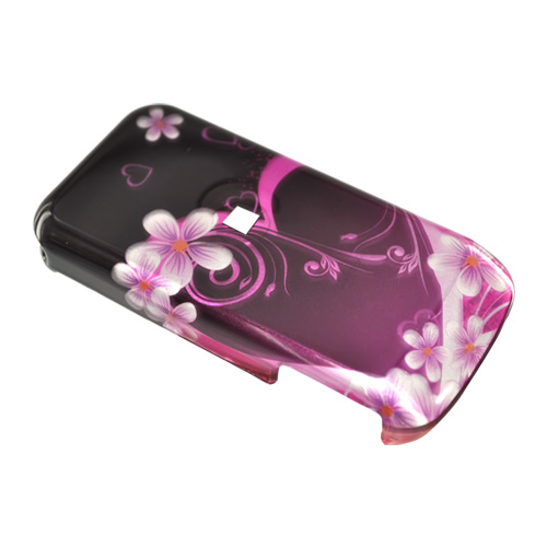 Motorola i410 Hard Case - Pink Heart and Flowers on Black