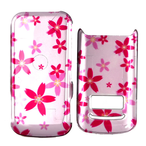 Motorola i410 Hard Case - Pink Flowers on Baby Pink