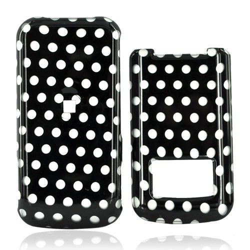 Motorola i410 Hard Case - White Polka Dots on Black