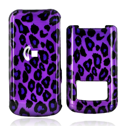 Motorola i410 Hard Case - Purple/Black Leopard Print on Purple