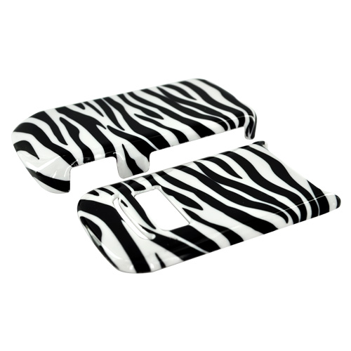 Motorola i410 Hard Case - White/Black Zebra