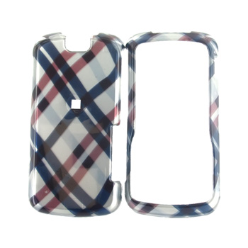 Motorola Clutch i465 Hard Case - Checkered Plaid Pattern of Navy Blue, Brown, Silver