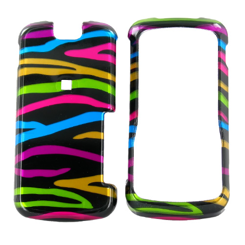 Motorola Clutch i465 Hard Case - Colorful Zebra on Black