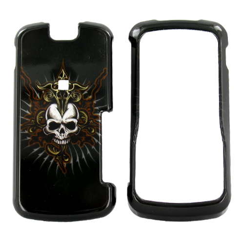 Motorola Clutch i465 Hard Case - Cross Skull on Black