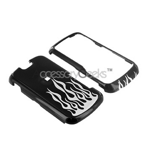 Motorola Clutch i465 Hard Case - Silver Flame on Black