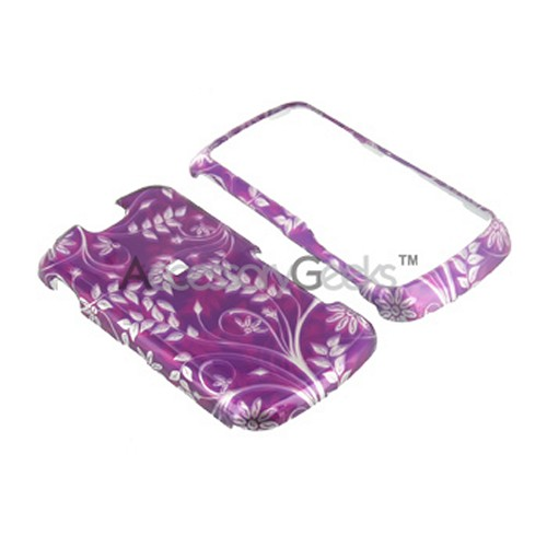 Motorola Clutch i465 Hard Case - Floral on Purple