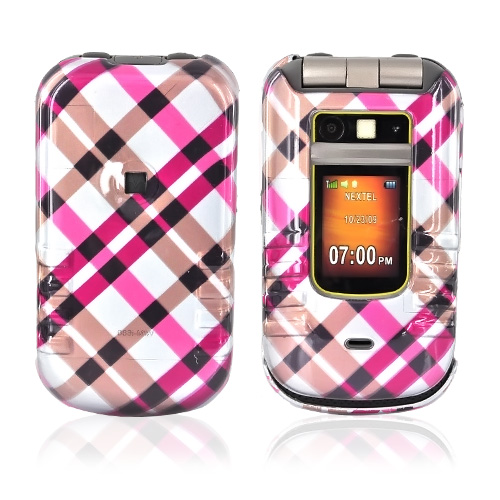 Motorola Brute i680 Hard Case - Checkered Design of Pink, Hot Pink, Brown, Grey