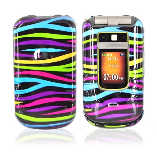 Motorola Brute i680 Hard Case - Rainbow Zebra on Black