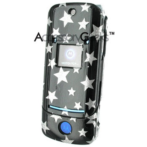 Motorola KRZR K1 Hard Case w/ Clip - Silver Star on Black