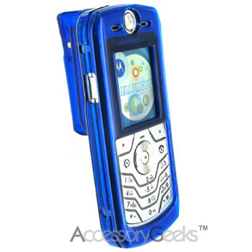 Motorola L6 Transparent Blue Hard Case w/ Belt Clip