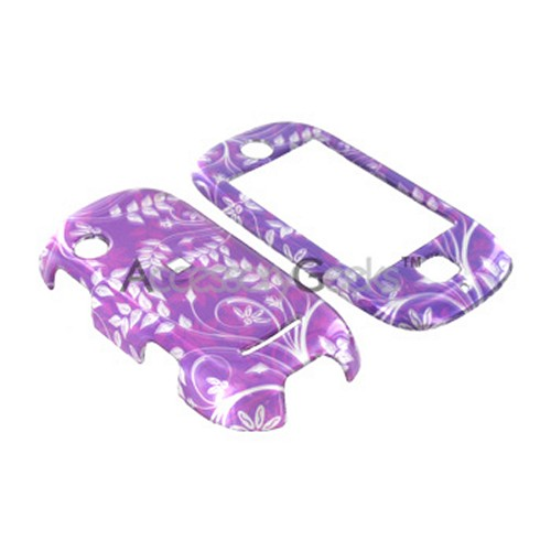 Motorola Evoke QA4 Hard Case - Floral on Purple