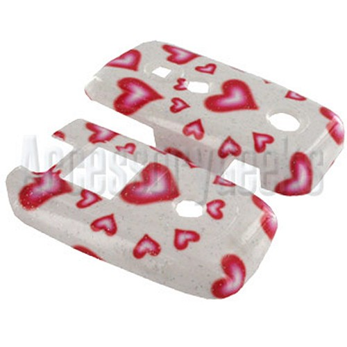 Motorola V360 Glittering Hearts on White Hard Case