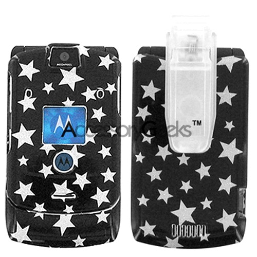Motorola RAZR V3i Protective Hard Case - Silver Stars on Black
