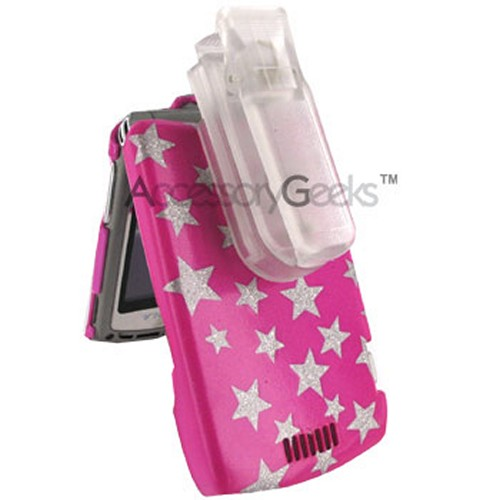 Motorola V3 Razr Silver Star on Pink Hard Case