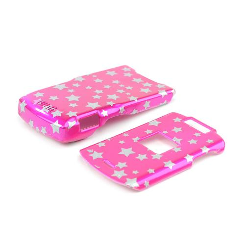 Motorola RAZR V3xx Protective Hard Case - Silver Star on Pink