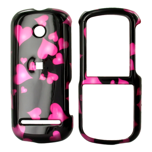 Motorola VE440 Hard Case - Floating Hearts on Black