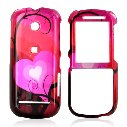 Motorola VE440 Hard Case - Red and Pink Hearts Design