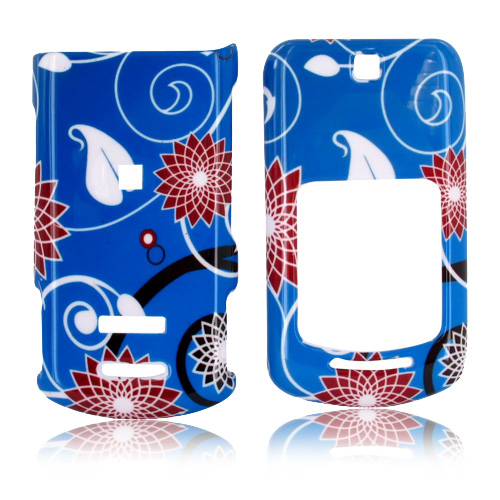 Motorola VE465 Hard Case - Red Flowers on Blue