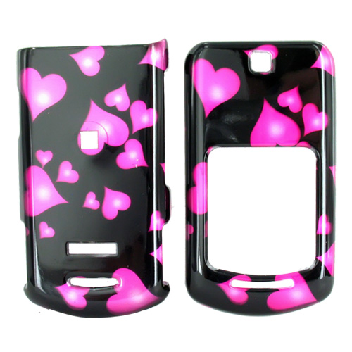 Motorola VE465 Hard Case - Floating Hearts on Black