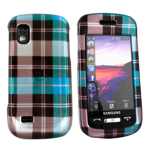 Samsung Solstice A887 Hard Case - Plaid Pattern of Blue, Green, Brown, Silver