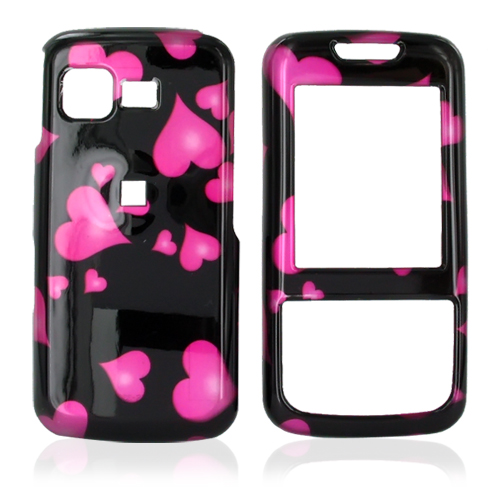 Samsung M330 Hard Case - Floating Hearts on Black