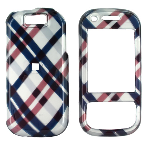 Samsung Exclaim M550 Hard Case - Checkered Plaid of Navy Blue, Brown, Silver