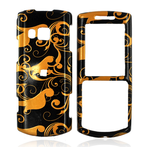 Samsung Messager II R560 Hard Case - Bronze Swirl Design on Black