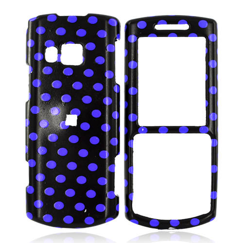 Samsung Messager II R560 Hard Case - Blue Purple Polka Dots on Black