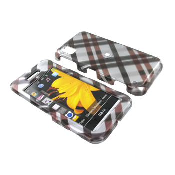 Samsung Finesse R810 Hard Case - Checkered Pattern of Black, Brown on Grey