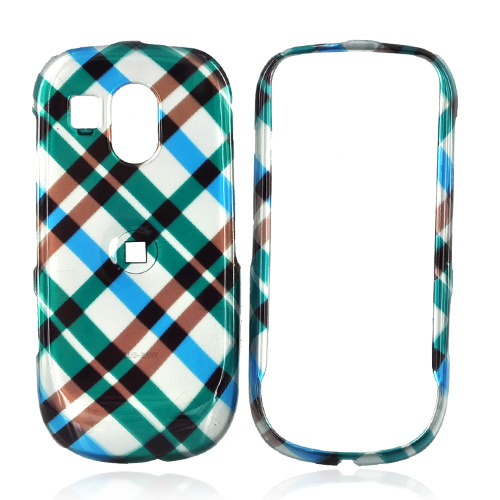 Samsung Caliber R860/R850 Hard Case - Checkered Plaid Pattern of Blue, Green, Brown, Silver